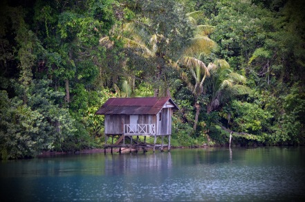 hut by the lake edge..