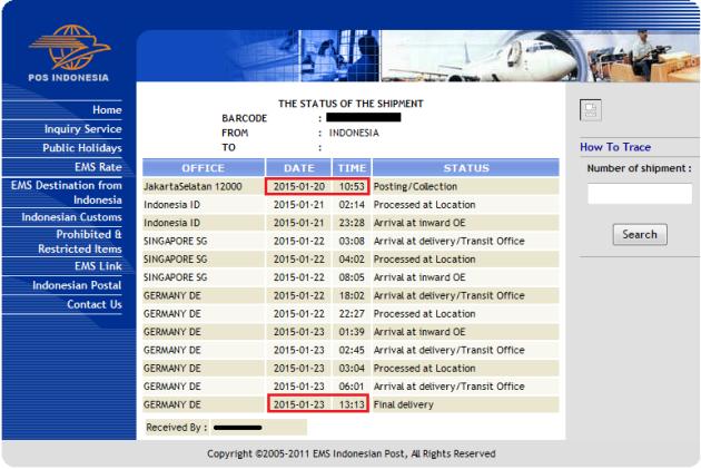 tracking pengiriman dokumen