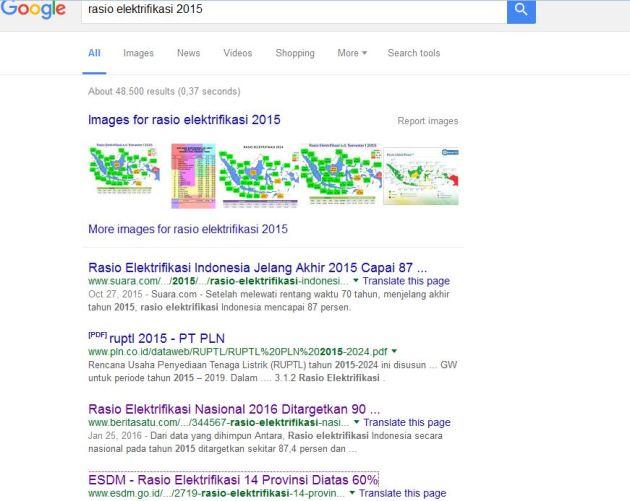 halaman utama google saat mencari rasio elektrifikasi
